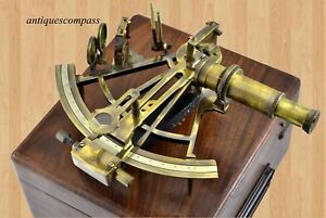 Nautical Collectible Working Sextant W Wooden Box Marine Antique Brass Sextant