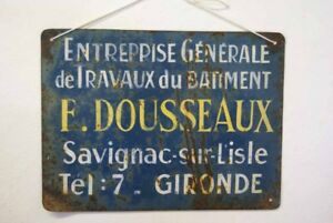 Vintage French Metal Sign Industrial Painted Cafe Bar Restaurant France Blue