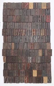 142 Piece Vintage Letterpress Wood Wooden Type Printing Blocks 49 M m vb 862