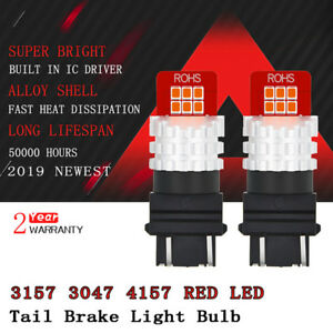 2x Auxito 3157 3057r 4157 Red Led Brake Stop Tail Light Bulb 12e For Car Truck D