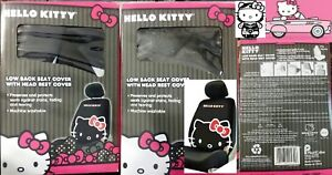 Hello Kitty Car Low Back Seat Covers With Head Rest Covers New In Box Set Of 2