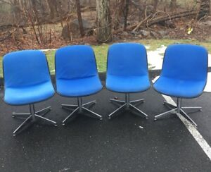 Vintage Steelcase Set Of 4 Chairs Office Guest Blue Fabric Pop Color Usa