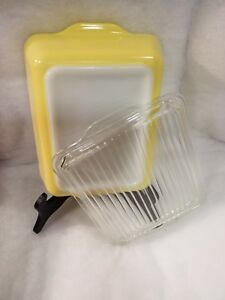 Vintage Pyrex Yellow 1 1 2 Qt Large Milk Glass Refrigerator Dish 503