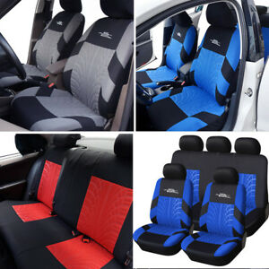 Universal 9pcs Car Seat Covers Front Rear Head Rests Full Set Auto Seat Cover Us
