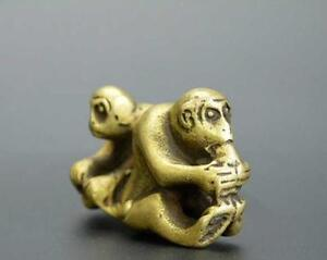 China Old Antique Collection Pure Brass Two Monkey Small Statue
