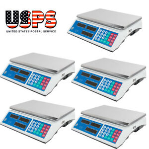 5pcs 30kg Digital Price Deli Food Meat Computing Counter Scale Dual Side Display