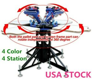Usa 4 Color 4 Station Silk Screen Printing Machine Micro adjust T shirt Printer
