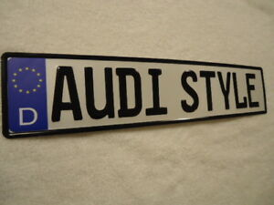 European Style License Plate Audi Style Embossed Text W German Designations