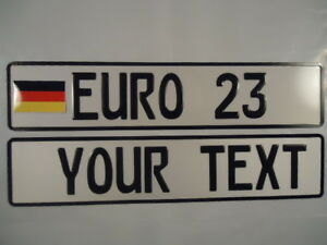 Euro German Style Embossed Aluminum License Plates W German Flag 8 Total Spaces