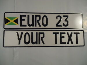 Euro German Style Embossed Aluminum License Plates W Jamaica Flag 8 Total Spaces