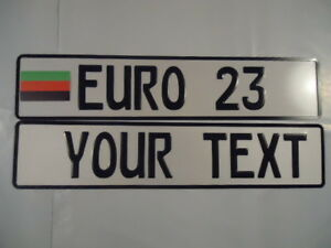 Euro German Style Embossed Aluminum License Plate Rd Blk Grn Flag 8 Total Spaces