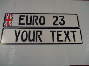 Euro German Style Embossed Aluminum Lic Plate Uk Flag 9 Total Spaces