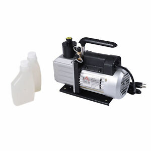 Homcom Dual Stage Vacuum Pump 5cfm 1 2hp Rotary Vane Deep Hvac Ac Air Tool Black