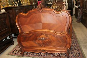 Antique Walnut French Louis Xv Full Queen Size Bed Rails 1880