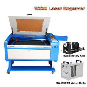 100w Co2 Laser Cutting Engraving Machine 28 x20 Usb Water Chiller Rotary Axis