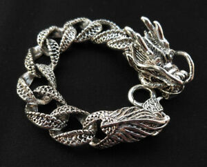 Chinese Tibet Silver Carved Dragon Men Bracelet A Pair