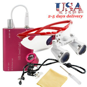 Led Headlight Lamp With Overcharge Protection dental Surgical Binocular Loupes