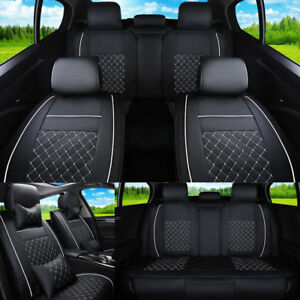 5 seat Car Seat Covers Microfiber Leather Cushion Front rear All Weather Us