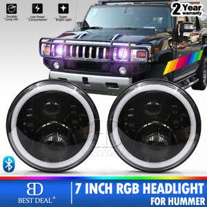 For Hummer H1 H2 H3 7 Rgb Halo Led Headlight Assembly Update App Control