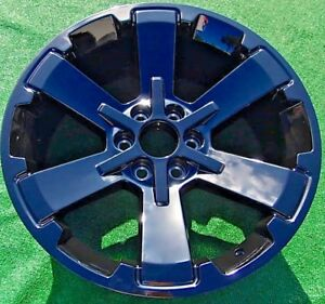 Set Four Black 22 Inch Escalade Yukon Tahoe Suburban Oem Factory Gm Style Wheels