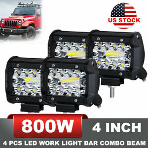 800w 4pcs 4 Inch Cree Led Work Lights Pod Spot Flood Combo Offroad Driving Light