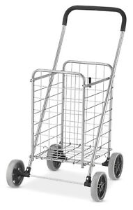 Rolling Utility Storage Cart Shopping Grocery Steel Silver Wheels Handle F