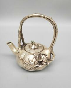 Chinese Antique Collection White Copper Pumpkin Teapot Crafts