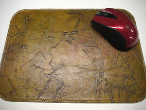 Leather Floral Mouse Pad Unique Design Made In Usa Light Tan