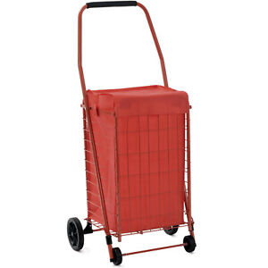 Grocery Laundry Shopping Cart Jumbo Basket Travel Folding With Swivel Wheel Red