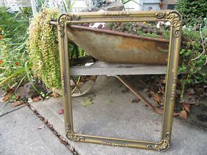 Vintage Large Picture Frame Mirror Frame 16x20 Wooden Ornate Baroque Gold Gesso