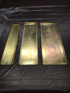 3 Antique Letterpress Printing Solid Brass Wood Galley Trays Late 1800 s 24 In