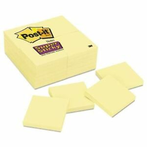 Post it Notes Super Sticky Pads In Canary Yellow Mmm65424sscy