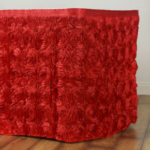 21 Red Satin Roses Table Skirt Tradeshow Wedding Party Catering Supplies Dinner