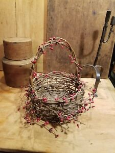 Old Type Primitive Woven Wood Twig Basket Decorated With Red Rosehip Garland