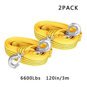 2 X 10ft 3 Tons Heavy Duty Tow Rope Strap Car Boat Trailer Recovery Steel Hooks