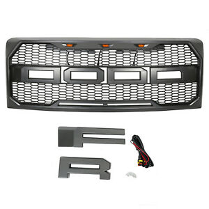 09 14 Ford F 150 Grille Front Bumper Hood Grill Mesh W fr led Light Raptor Style