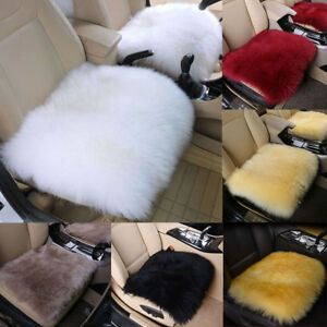 Genuine Fur Car Seat Cushion Long Wool Sheepskin Cover Winter Warm Chair Cover