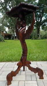 Vintage Winged Griffin Pedestal Table Hall Stand Mahogany Rj Horner Style 35 5