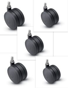5 Ultima 3 Inch Twin Wheel Swivel Threaded Stem Caster Wheels For Chair Carts