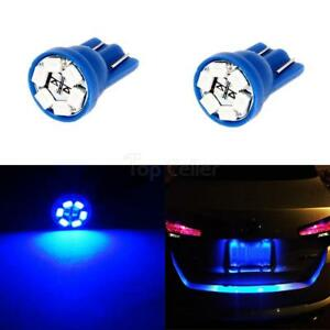2pcs T10 194 Wedge Blue Led Lamp Bulbs For License Frame Tag Number Plate Light