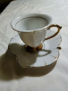 Vintage Royal Sealy Of Japan White And Gold China Coffee Tea Cup And Saucer Mini