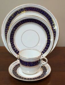 19th Century English Cobalt Blue Gold 4 Pc Place Setting Coffee Saucer B