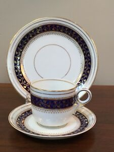19th Century English Cobalt Blue Gold Coffee Cup Saucer Trio Set