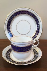 19th Century English Cobalt Blue Gold Coffee Cup Saucer Trio Set A