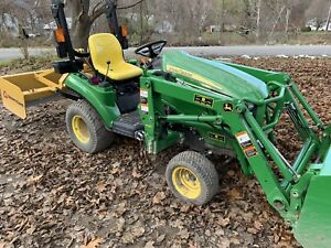 John Deere 1023e Tractor Sub Compact 4wd Bucket Loader Box Blade Forks Ballast
