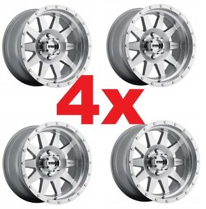 4 20 20x9 6x135 Method Wheels Rims Machined Aluminum Silver Grey Fuel Xd Moto