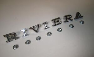 1968 1969 Buick Riviera Fender Letters R I V I E R A Die Cast Chrome