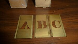227 Pieces Of Antique Brass Stencil Lettering Numbers Punctuations 2 1 4