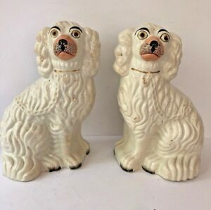 Pair Staffordshire White Seated Spaniel Dogs 1850s English Mantel Figurines Gilt