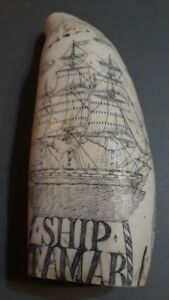 Faux Whale Tooth With Scrimshaw With Boat And Fern